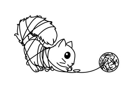 vector cute cartoon little cat. coloring book page