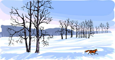 Black silhouettes of trees look decorative against the background of a snow-covered field. Winter nature is painted white and blue. A small running fox is the only bright moving spot against the background of a snow-covered field.