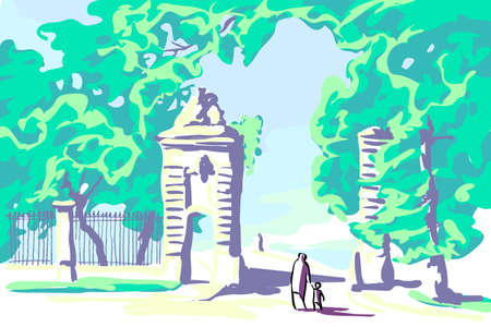 The gate of the old park invites you to enter the amazing garden of childhood memories. The soft pastel coloring of the picture is mesmerizing.