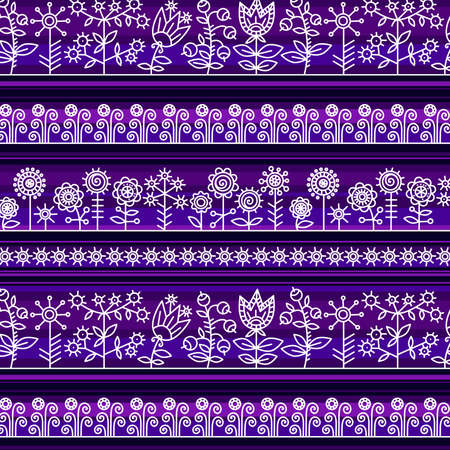 Seamless pattern with contour of flowers and berries in mysterious colors. Decorative stylized white flowers and berries create openwork lace on purple and lilac stripes.