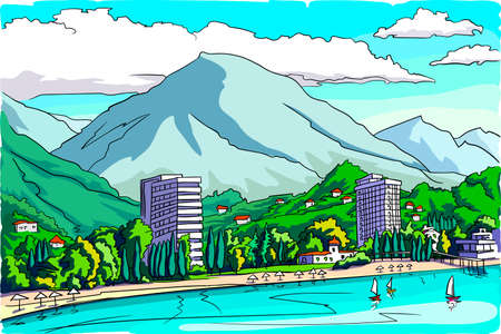 A resort town at the foot of the mountains by the sea. Summer, bright sunny day. View from the sea.