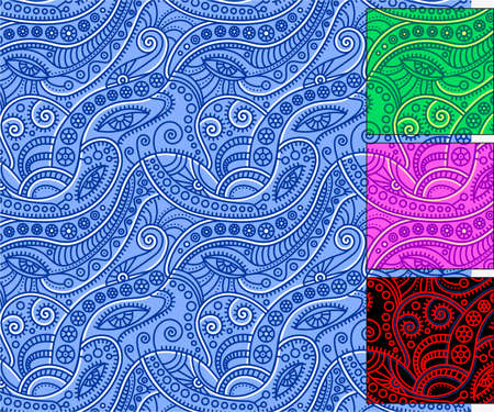 Surreal ornament with eyes. Seamless pattern in four colors: blue, green, lilac, red. The magic of serpentine lines.