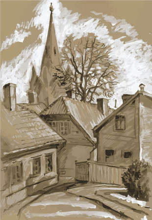 Street of the old town in the city of Cesis, Latvia. Grisaille, monochrome. Ilustración de vector