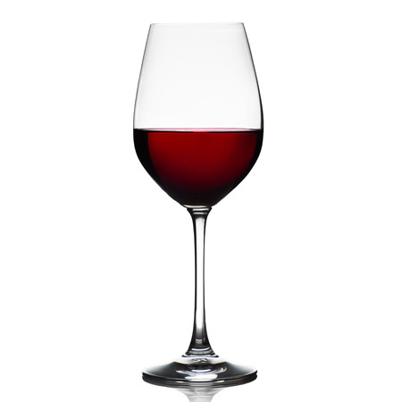 red taste: Red wine glass isolated on white background