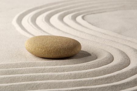 relaxation zen garden, zen stone with raked sand  photo