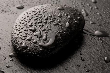 zen basalt stone with dew