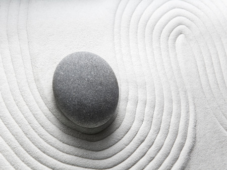 relaxation zen garden, zen stone with raked sand  Stock Photo - 26464146