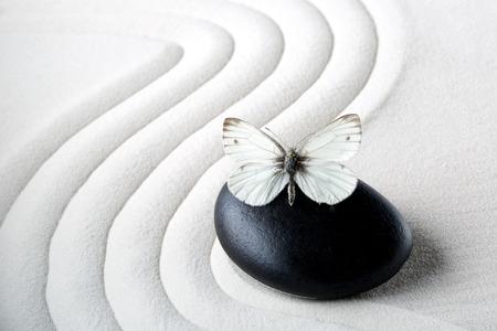 Zen stone with butterfly Reklamní fotografie - 26929607