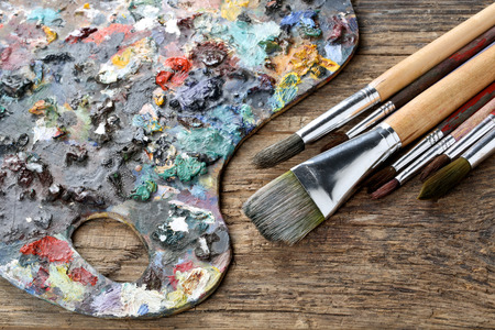 oilpaint: Brushes and colorful almost abstract pallet
