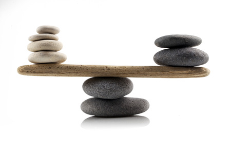 balancing stones on white background Stockfoto