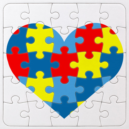 piece: Autism Awareness symbol: puzzle with heart