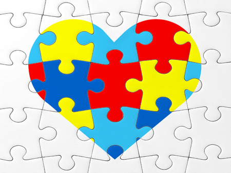 Autism Awareness symbol: puzzle with heart 免版税图像 - 33474819