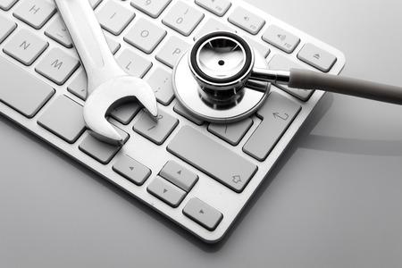Électronique concept de support technique - clés sur le clavier de l'ordinateur