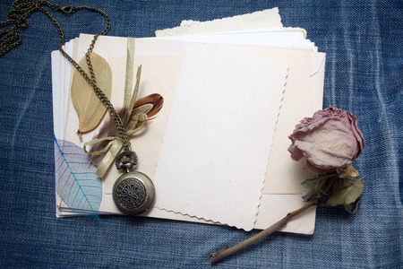 sentimental: Old accessories and post cards. sentimental vintage background Stock Photo