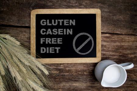 casein: Inscripci�n Gluten case�na dieta libre Foto de archivo