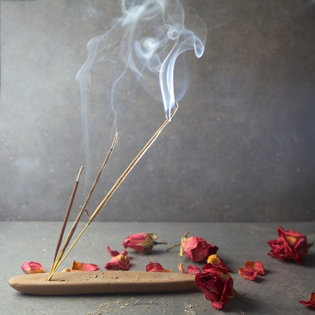 wooden stick: Incense stick. Aromatherapy whit petals