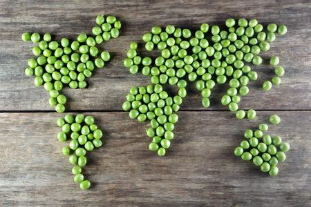 세계지도 만든 양식 녹색 완두콩