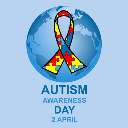 many coloured: Autism awareness day design with globe and ribbon Illustration