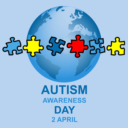 Autism awareness day design with globe and parts of a puzzle