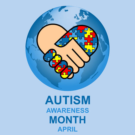 helplessness: Autism awareness month design with globe and hands