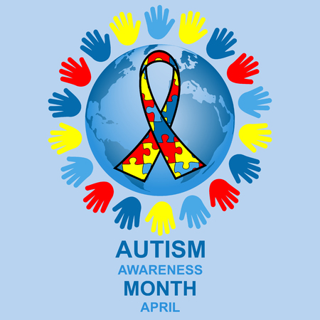 many coloured: Autism awareness month design with globe and ribbon Illustration
