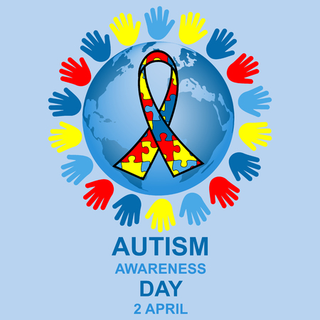 helplessness: Autism awareness day design with globe and ribbon Illustration