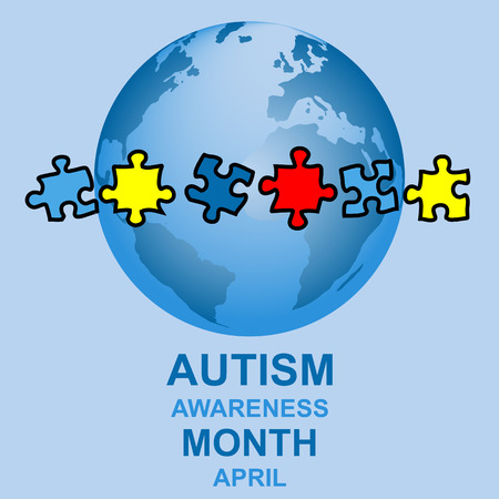 puzzle globe: Autism awareness month design with globe and parts of a puzzle