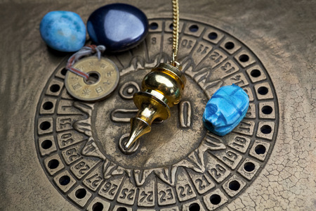 foretelling: Foretelling the future through astrology. Top view.