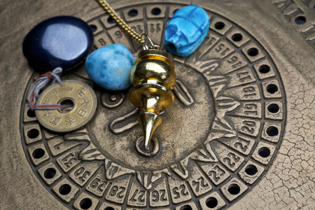 psychic reading: Foretelling the future through astrology. Top view.