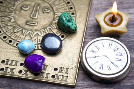 Foretelling the future through astrology. Top view.