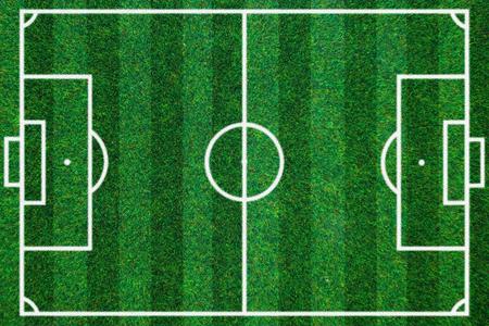 kickball: soccerball field green grass background. Top view