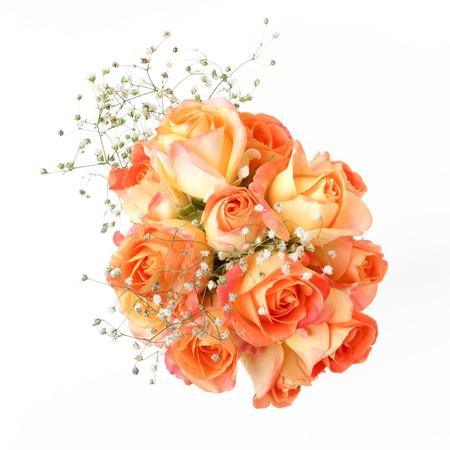 beautiful bouquet of orange roses on white background