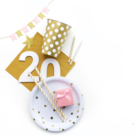 20th Birthday party decoration. Flat lay,