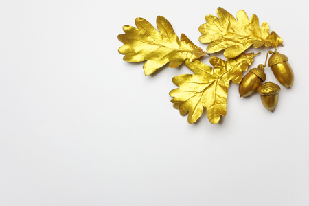 Golden oak leaf and acorn on light grey background. Top view 版權商用圖片