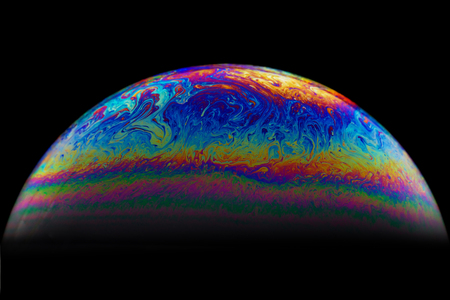 Half soap Bubble Ball abstract background. Model of Space or planets universe cosmic