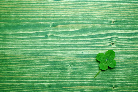 Clover over grenn wood background. Top view