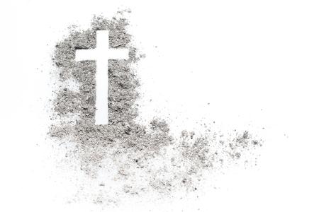 Croix du mercredi en frêne, crucifix en frêne. Vacances, fond de concept