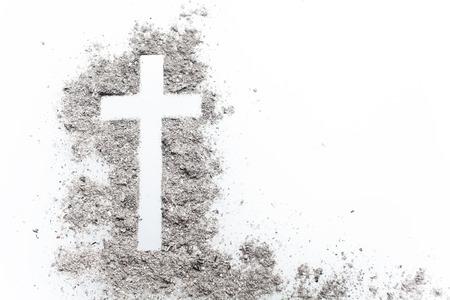 Croix du mercredi en frêne, crucifix en frêne. Vacances, fond de concept Banque d'images
