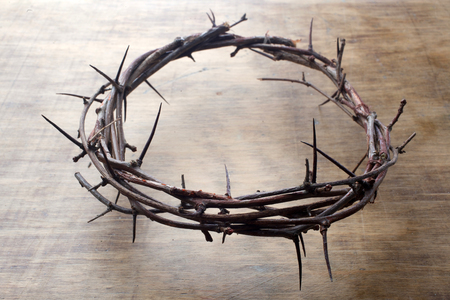 Jesus Crown Thorns on Old and Grunge Wood Background. Vintage Retro Style.