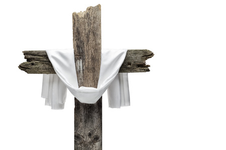 Easter cross isolated on white. He is risen concept. Archivio Fotografico