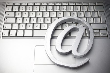 e-mail symbol on the keyboard. Top view