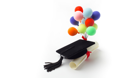 Black Graduation Cap, Degree and balloons Isolated on White Background.