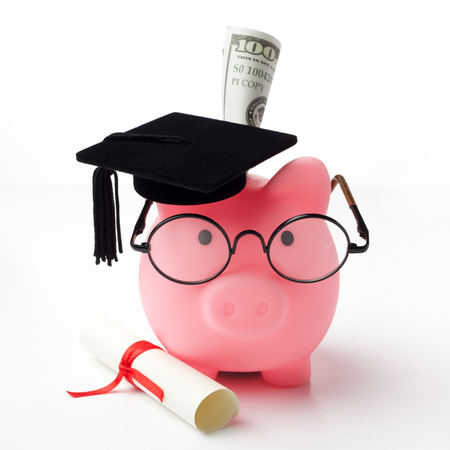 College graduate student diploma piggy bank isolated on white background