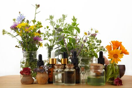 Essential oils with herbs and flowers on wooden table Foto de archivo