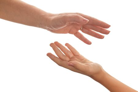isolated women and children hands reach toward each other