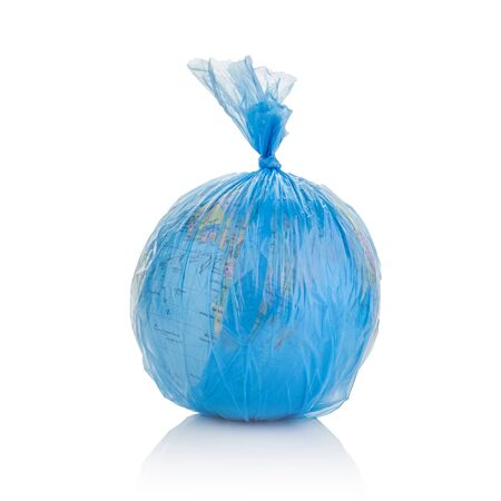 Globe of planet Earth dressed in a garbage plastic bag isolated on white. Stock Photo