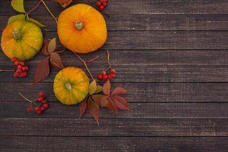 Pumpkins and fallen leaves on wooden background. Halloween, Thanksgiving day or seasonal background