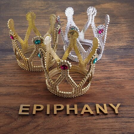 Three crowns, symbol of Tres Reyes Magos who come bringing gifts for the kids on Epiphany Stock Photo