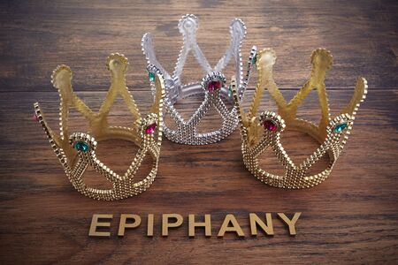 Three crowns, symbol of Tres Reyes Magos who come bringing gifts for the kids on Epiphany