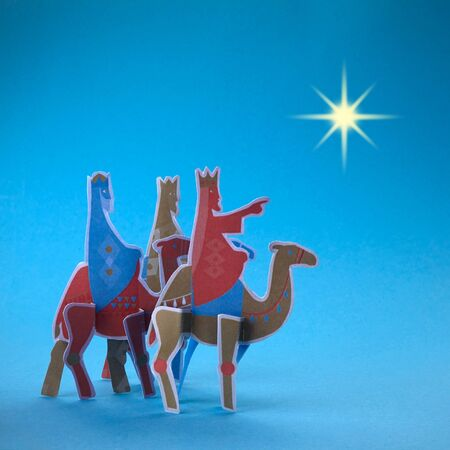 Three kings day. Melchior, Caspar and Balthazar. Night background with the star of Bethlehem.